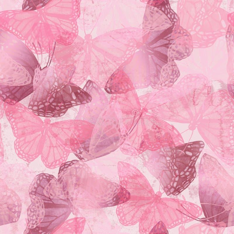 飞行蝴蝶的时髦无缝的样式在剪影的与光滑的梯度作用 皇族释放例证