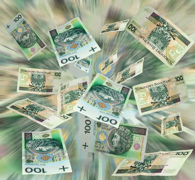 飞行货币波兰 免版税库存图片