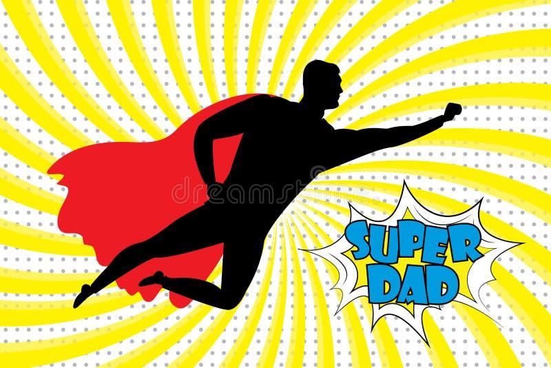 飞行超级英雄的剪影和超级爸爸在减速火箭的com发短信 向量例证