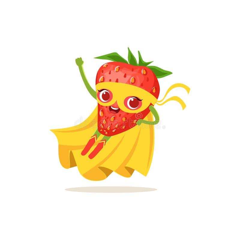 飞行超级英雄草莓的漫画人物  库存例证