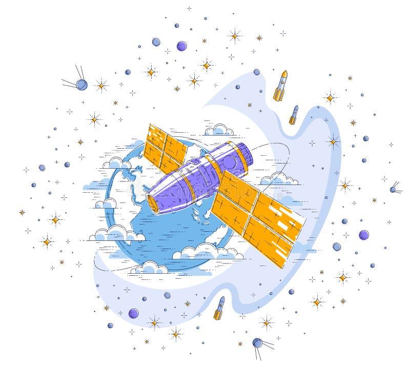 飞行轨道飞行的空间站在地球,有太阳电池板的航天器太空飞船ISS,人造卫星附近,有火箭的, 皇族释放例证