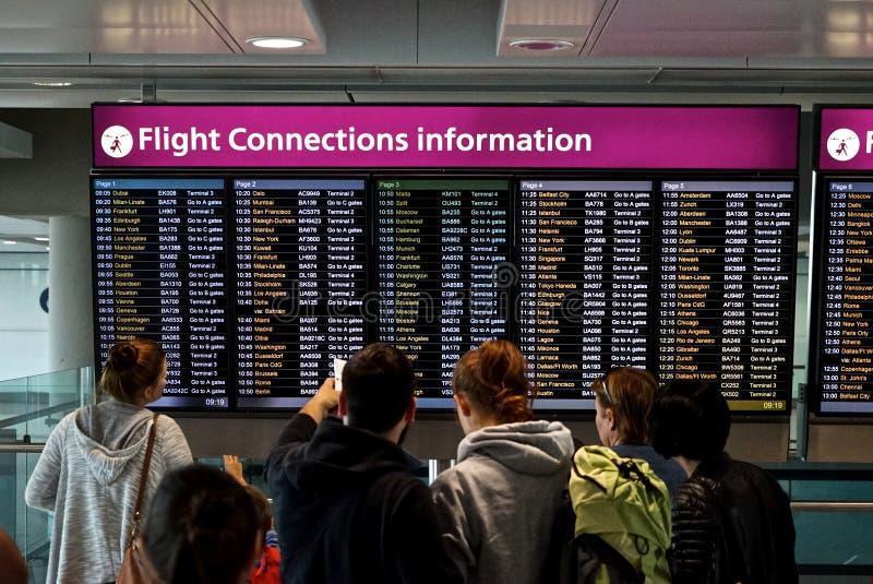 飞行连接信息 免版税库存图片