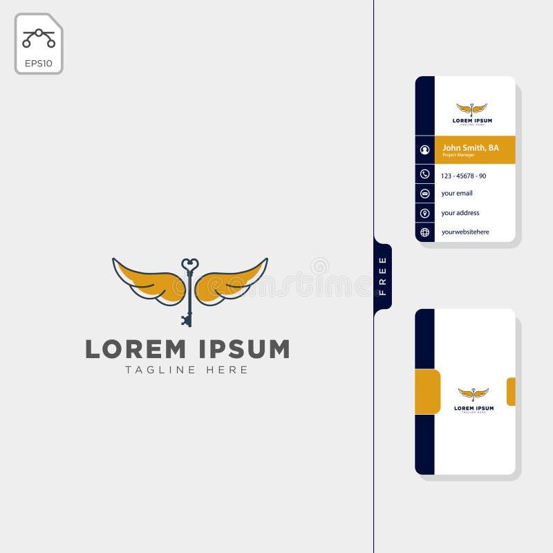 飞行钥匙翼商标模板,自由名片设计 皇族释放例证