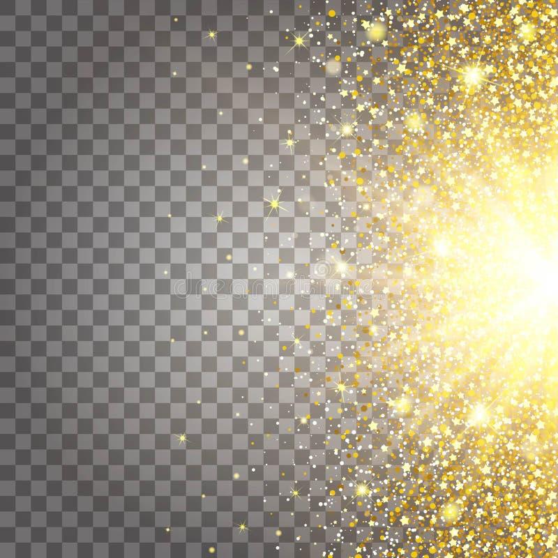 飞行零件金子闪烁豪华富有的作用设计背景 从边的浅灰色的背景 星尘号火花 向量例证