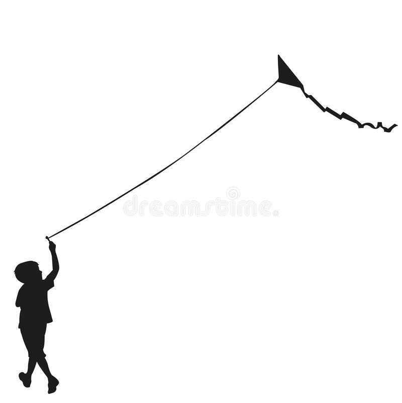 飞行风筝的儿童剪影 库存例证