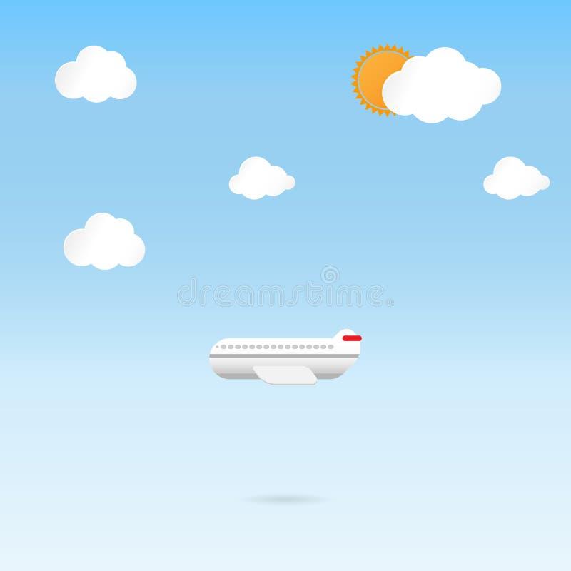飞行飞机云彩和蓝天背景 库存例证