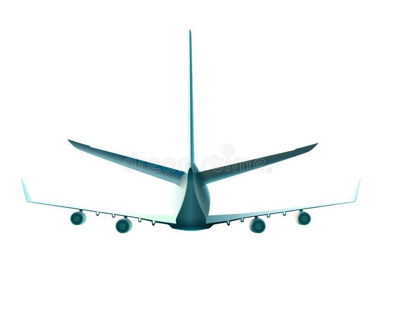 飞行飞机后面看法  导航在白色在后面看法的隔绝的飞机的例证 库存例证