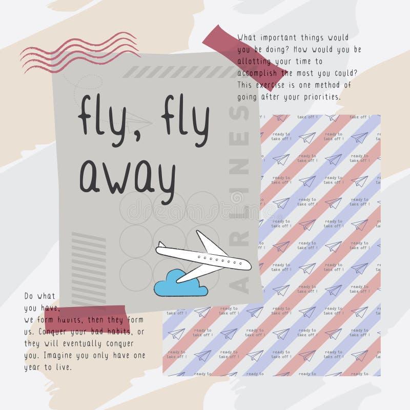 飞行飞行去印刷品传染媒介 皇族释放例证