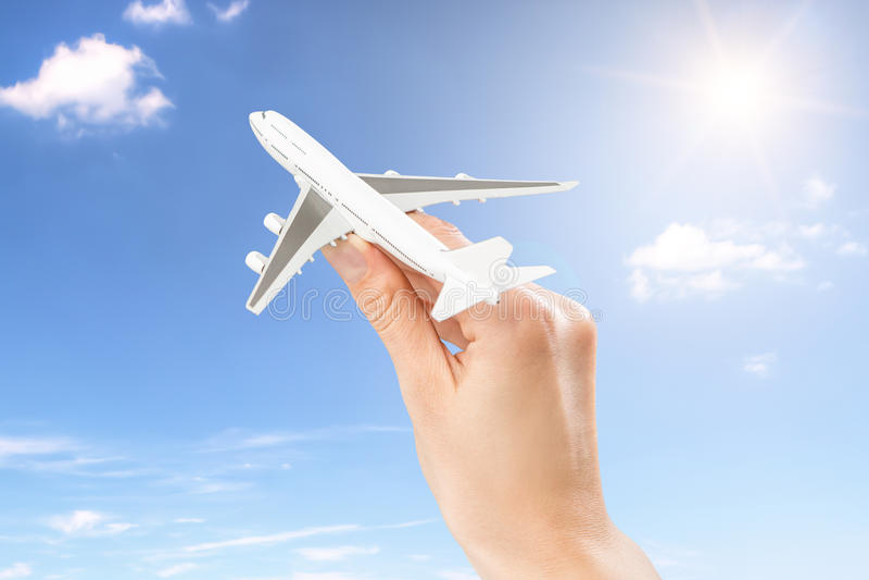 飞行飞行旅行的旅行概念 库存照片