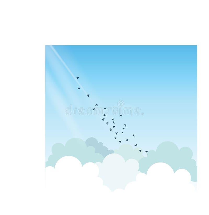 飞行高在天空的鸟 向量例证