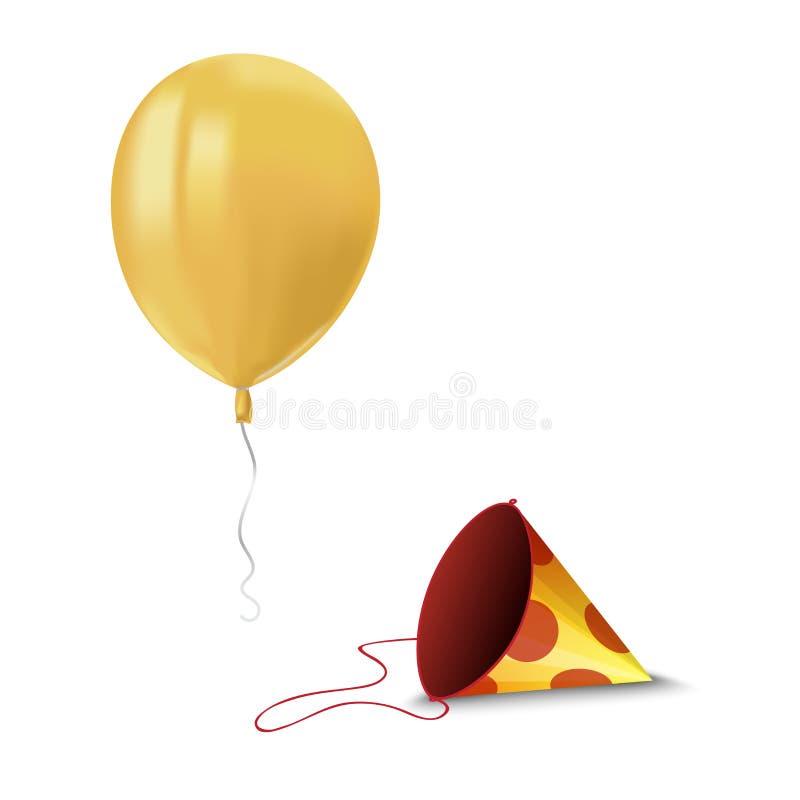飞行黄色气球与的现实空气反射和在白色背景隔绝的纸敞篷 任何holid的欢乐装饰元素 库存例证