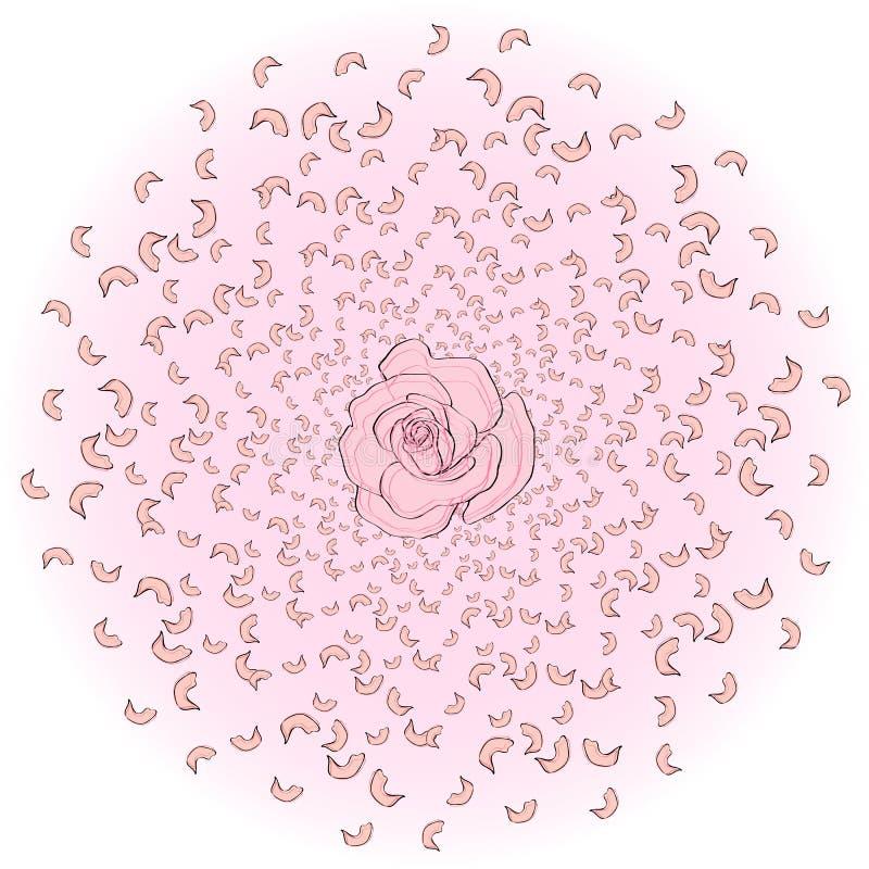 飞行从玫瑰花瓣圈子,佐仓,樱桃,与一朵玫瑰在中部 旋风,婚姻的背景 向量例证