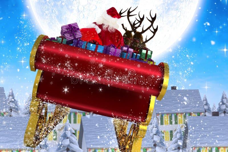 飞行他的雪橇的圣诞老人的综合图象 皇族释放例证