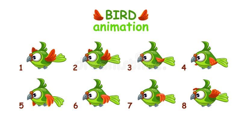 飞行绿色鹦鹉的滑稽的动画片 库存例证
