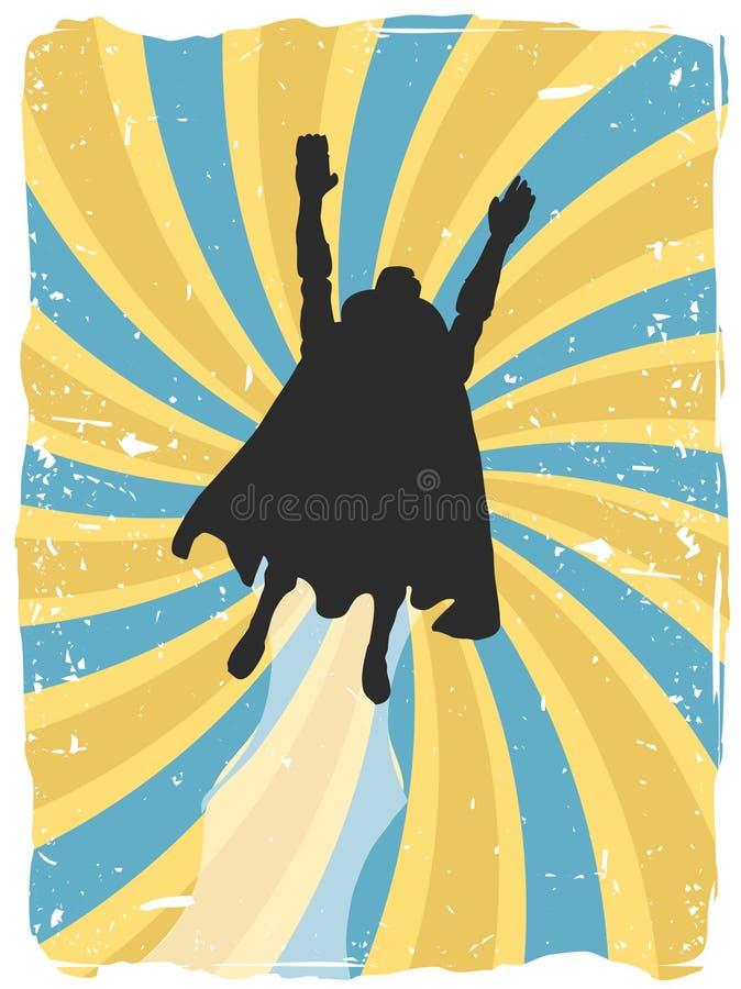 飞行grunge剪影超级英雄漩涡 库存例证