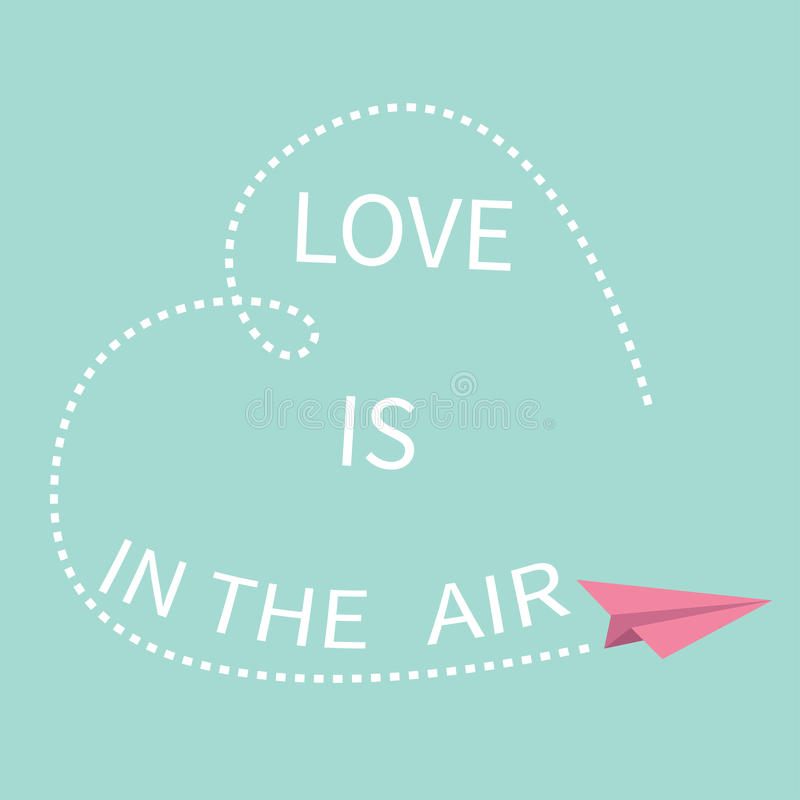 飞行origami纸飞机 爱在空气字法文本 该死的心脏线框架愉快的情人节贺卡Typograp 皇族释放例证