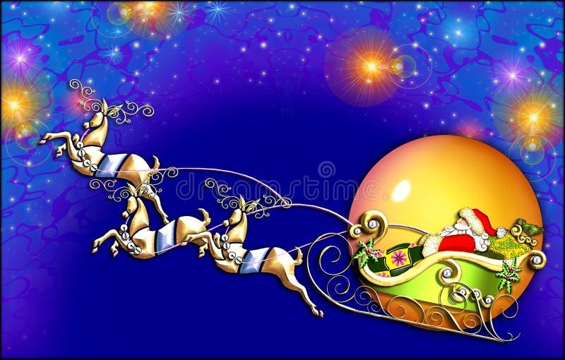 飞行s圣诞老人 向量例证