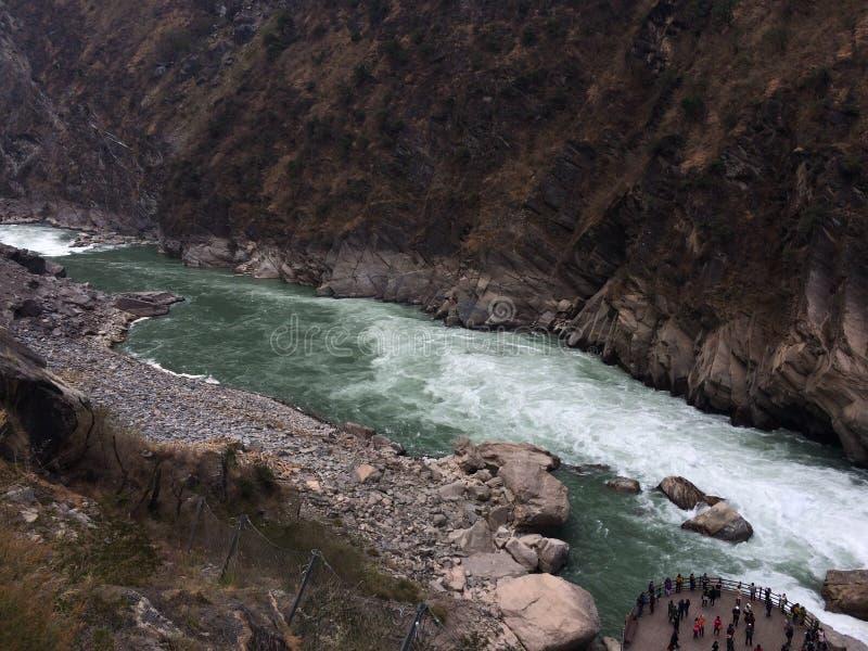 飞跃峡谷香格里拉云南中国的老虎 库存照片