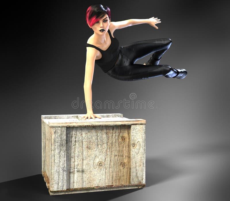 飞跃条板箱的美丽的少妇 库存照片