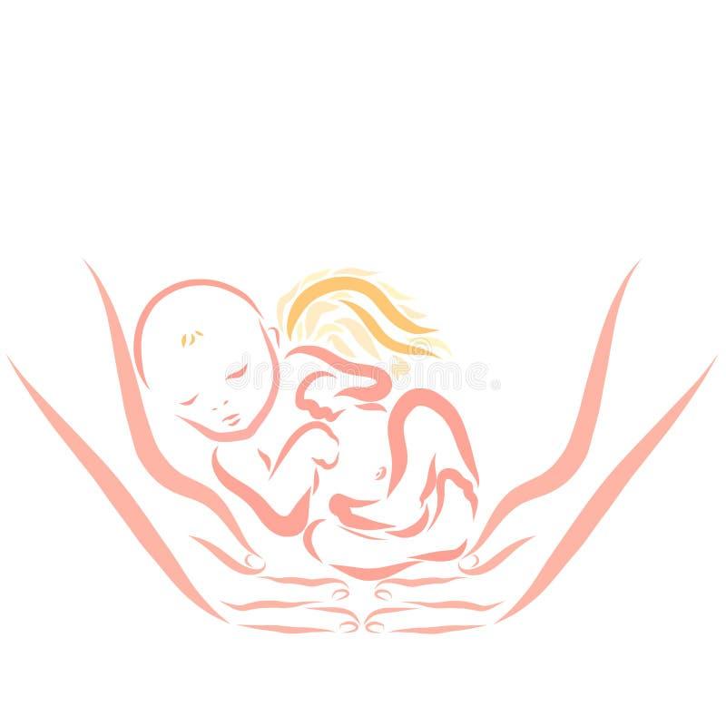 飞过的新生儿镇静地睡着在手上 皇族释放例证