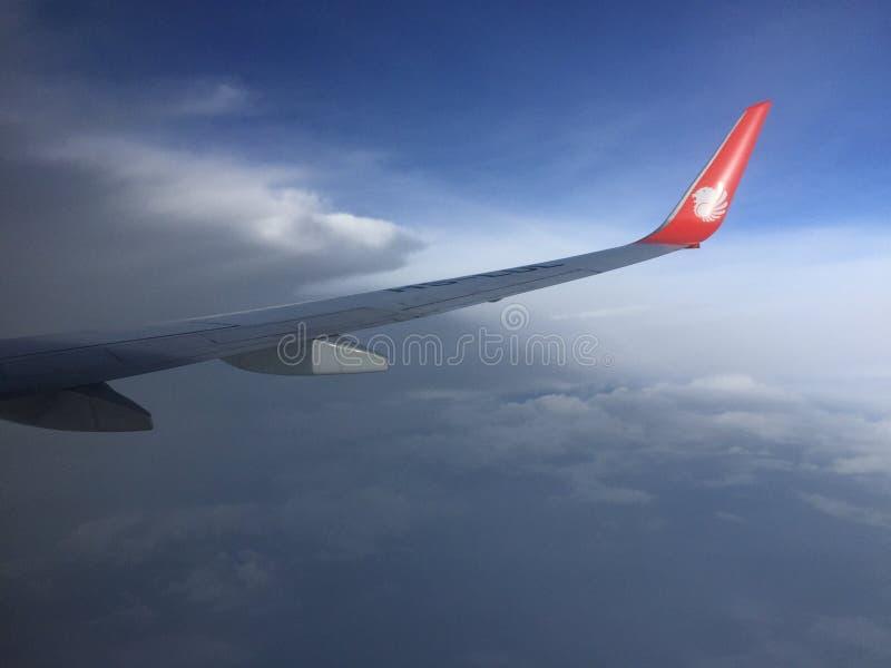 飞过飞机 库存图片