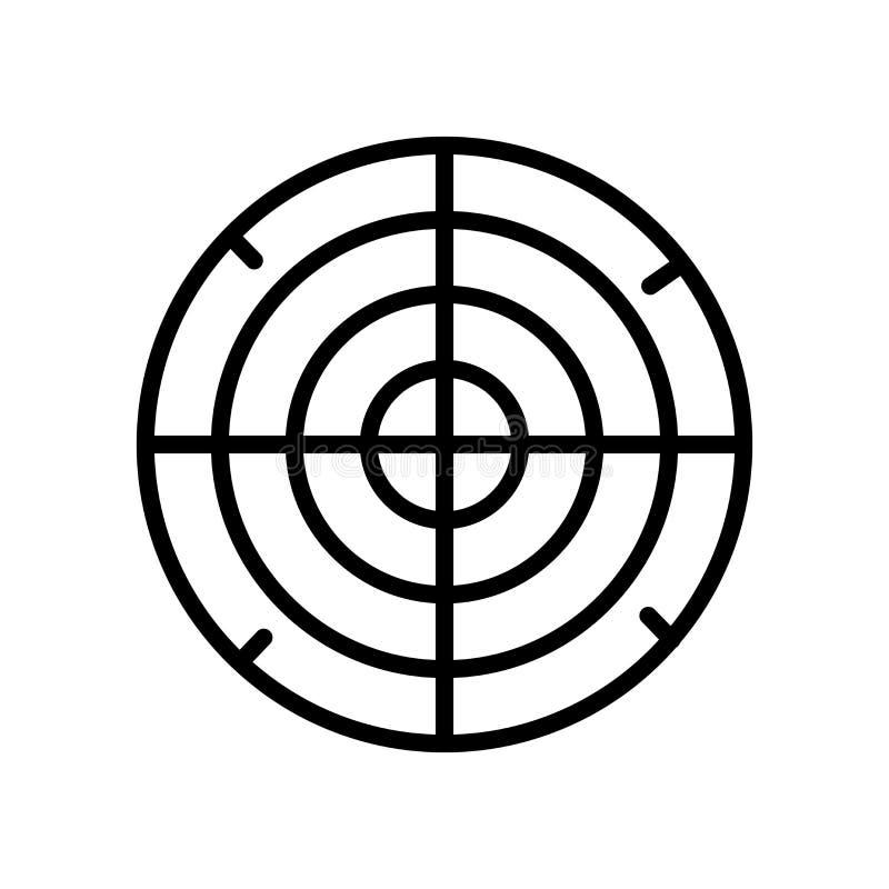 飞镖比赛在白色背景、飞镖比赛标志、线性标志和冲程设计元素隔绝的象传染媒介  向量例证