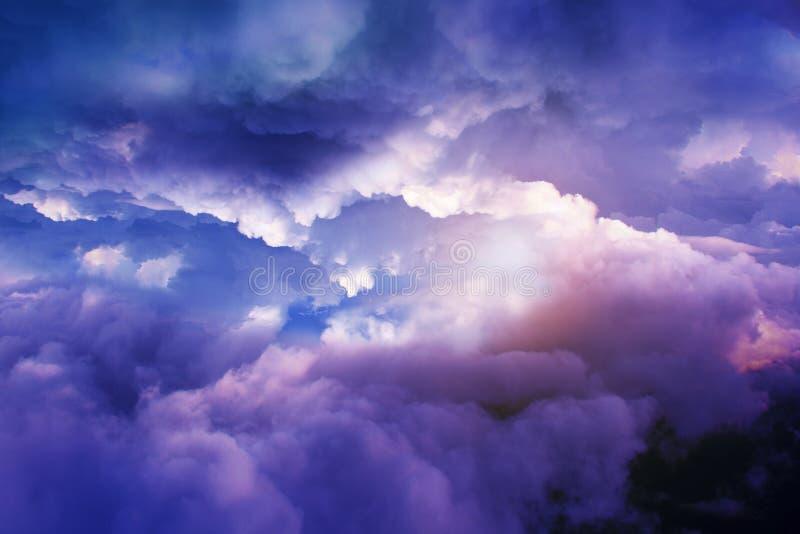 飞鸟剪影有美好的云彩和天空背景 免版税库存照片