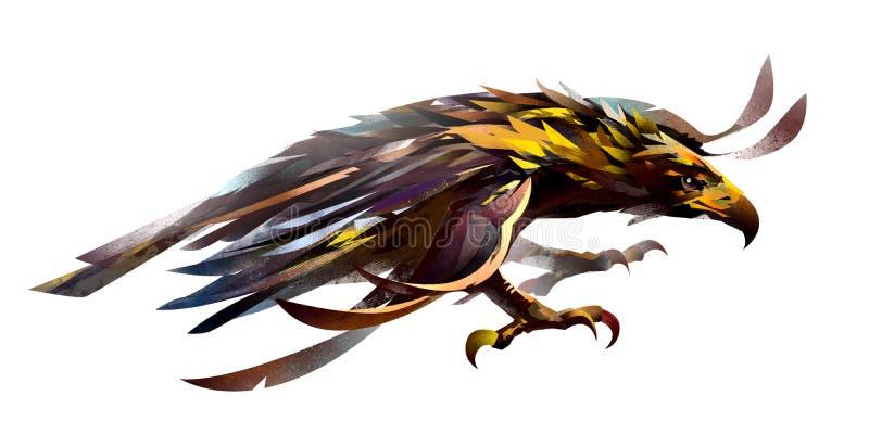 飞鸟的剪影 一只老鹰的图象在白色背景的 库存例证