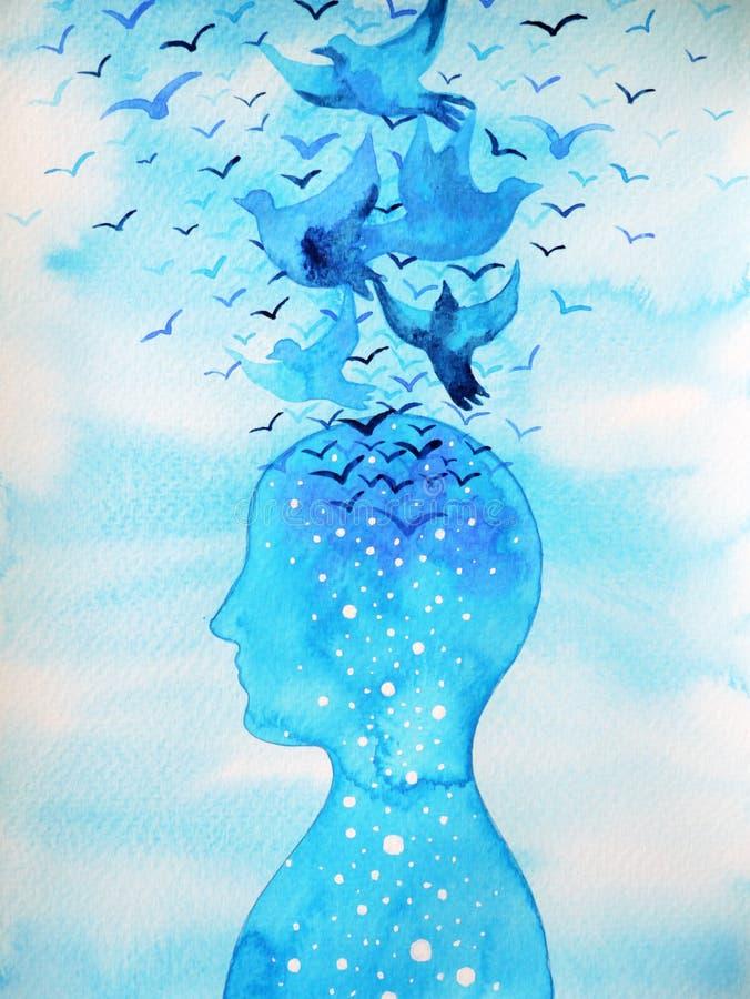 飞鸟释放并且放松与开放蓝天,抽象水彩绘画的头脑 向量例证