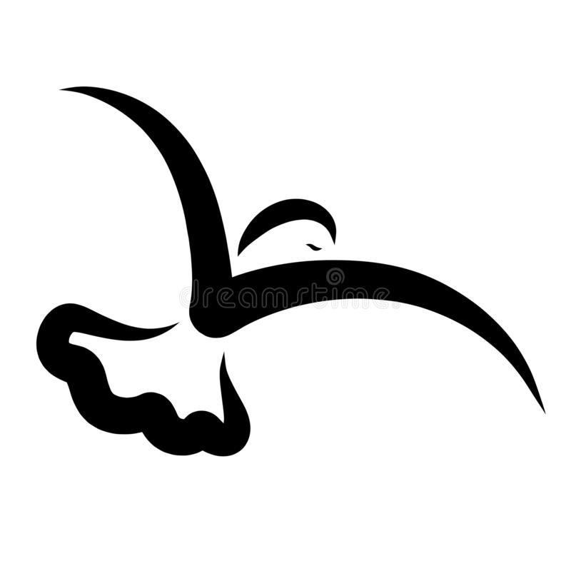 飞鸟,黑抽象样式,流线 向量例证