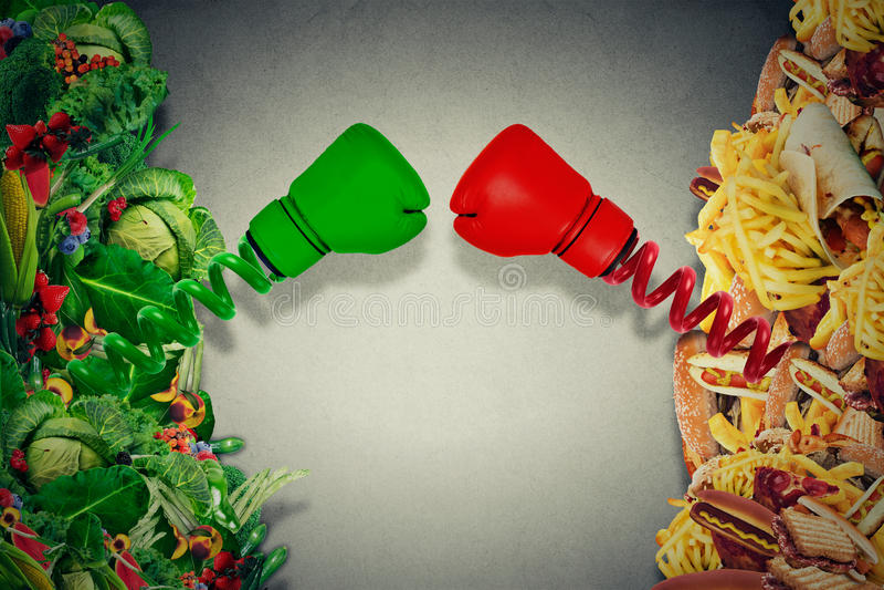 素食与猛击e的拳击手套的食物战斗的速食 图库摄影