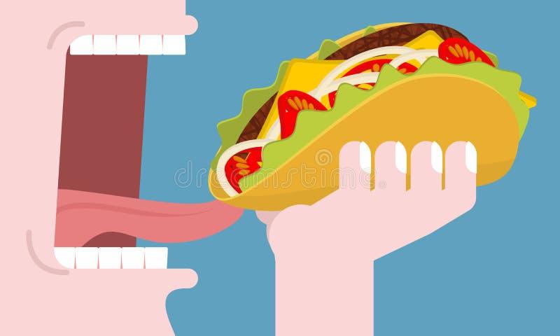 食人的炸玉米饼 快餐的消耗量 传统墨西哥人fo 皇族释放例证