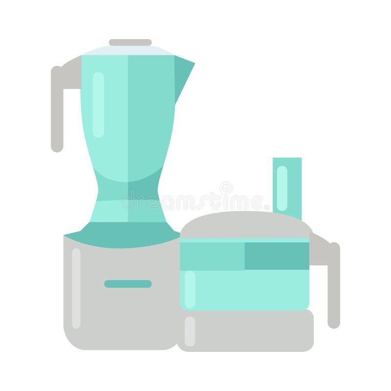 食品加工器 截去电查出的搅拌机路径白色的背景 塑料搅拌器 库存例证