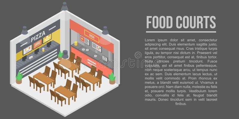 食品店概念横幅,等量样式 向量例证