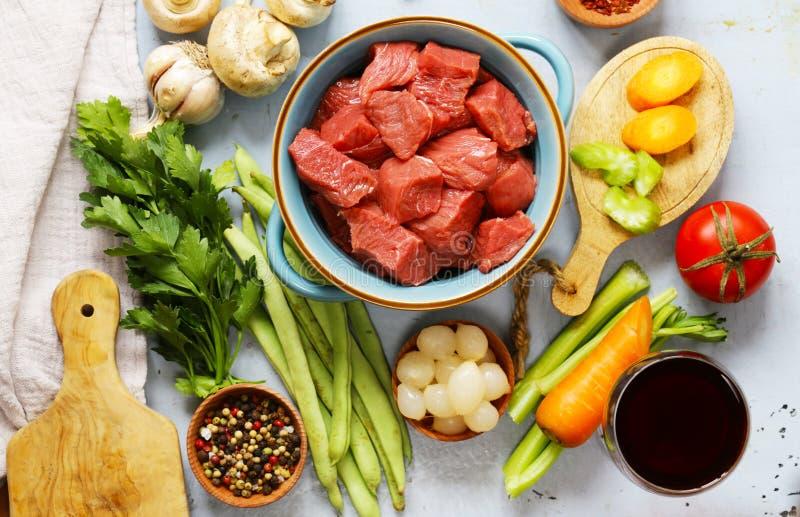 食品成分-肉,菜 免版税图库摄影