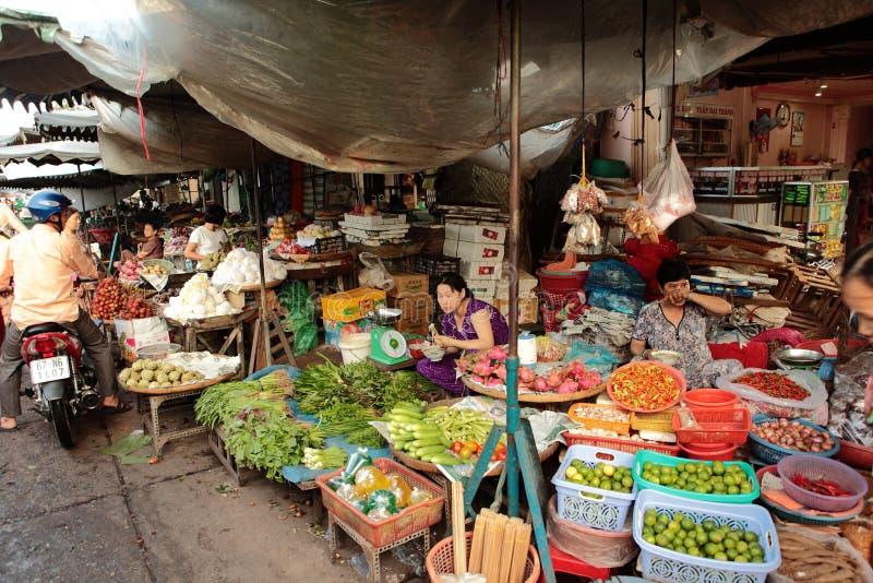 食品批发市场在越南 免版税图库摄影