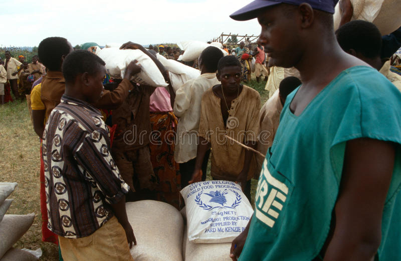 食品援助在布隆迪。 免版税库存照片