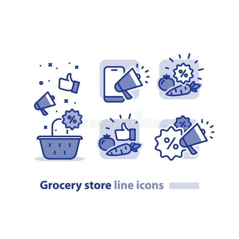 食品购物,杂货店篮子,便宜的菜排行象,销售公告扩音机 向量例证