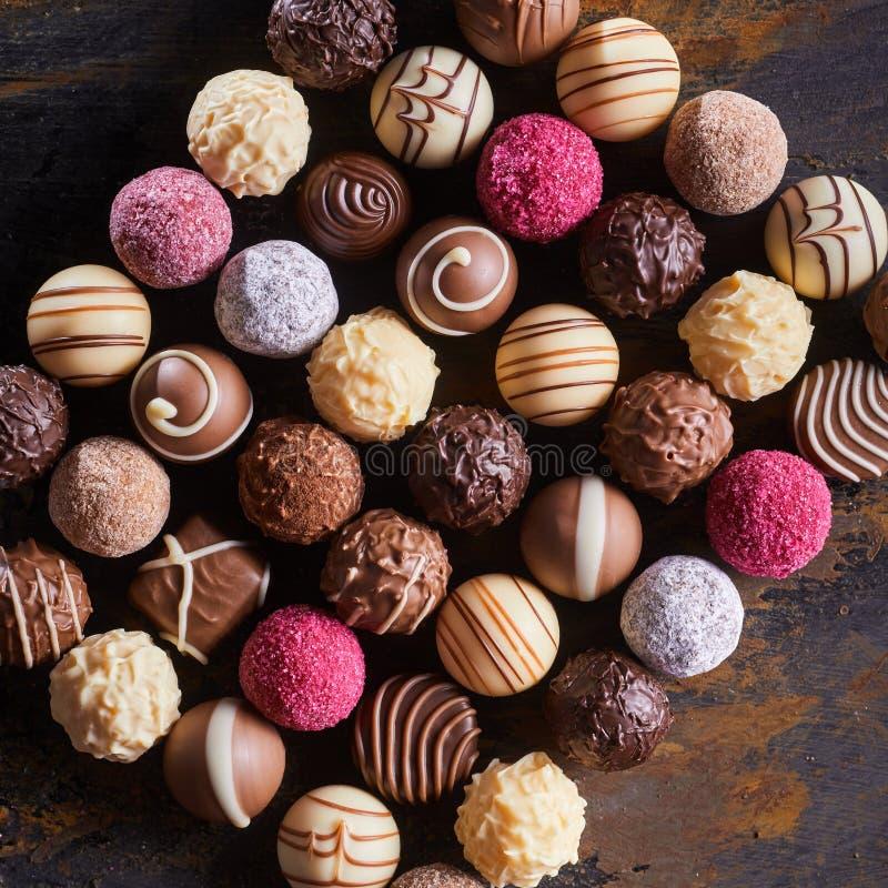 食家专长巧克力糖果或果仁糖 库存图片