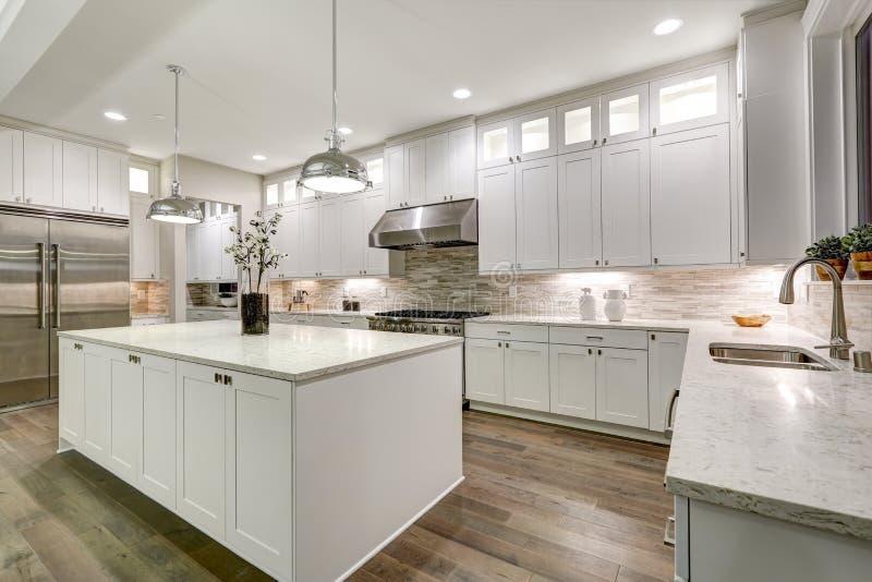食家厨房以白色细木家具为特色 库存照片