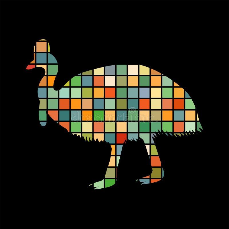 食火鸡鸟马赛克颜色剪影动物背景黑色图片