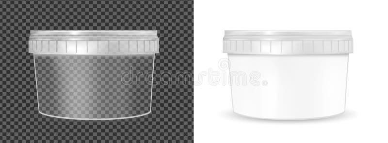 食物、酸性稀奶油、调味汁和快餐的透明塑料桶 向量例证