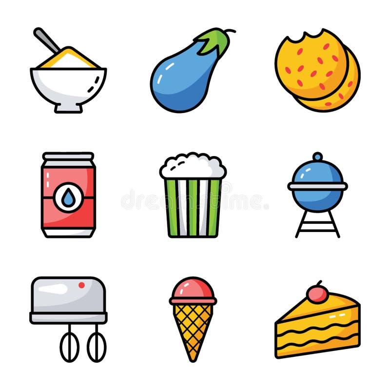 食物、饮料和厨房用具集合 皇族释放例证