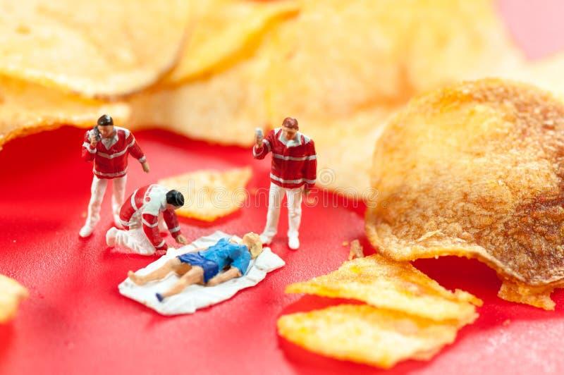 食物中毒。有害的速食概念 免版税库存照片