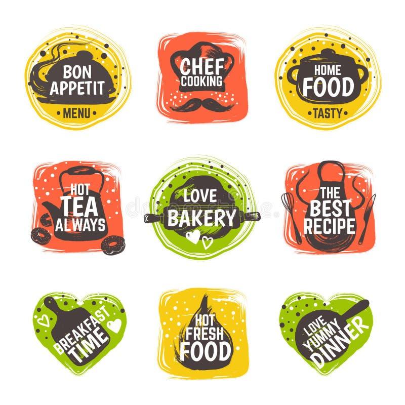 食物乱画商标 餐馆厨房徽章,烹调菜单印刷术,小餐馆美食术食谱的咖啡馆 ??????? 向量例证