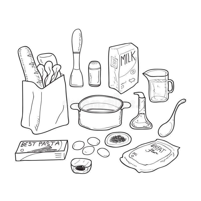 食物乱画草本和调味料 库存例证