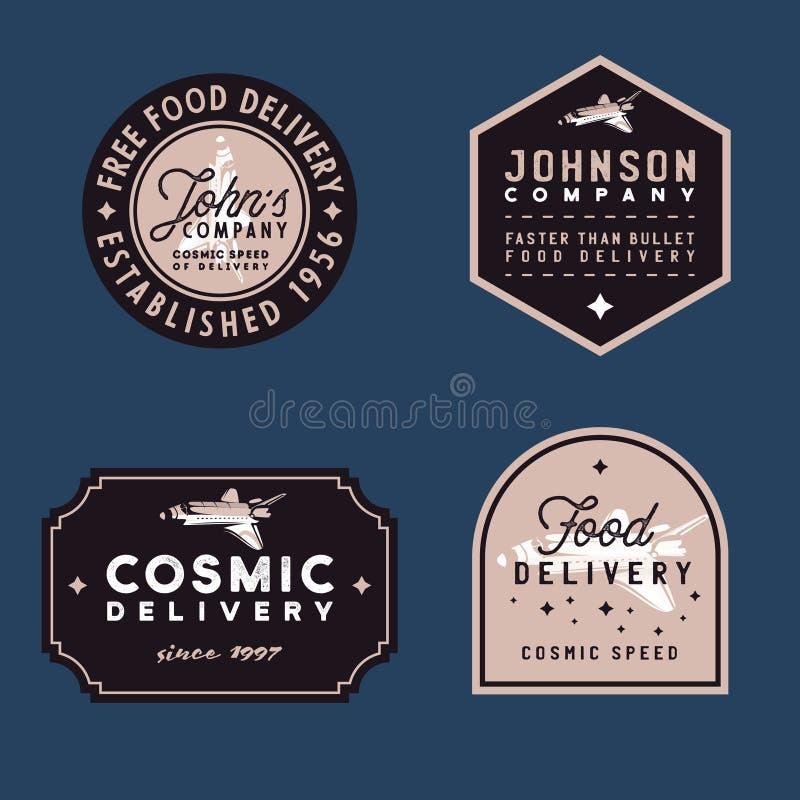 食物交付葡萄酒徽章、古板的传染媒介例证与难看的东西纹理和航天飞机 库存例证