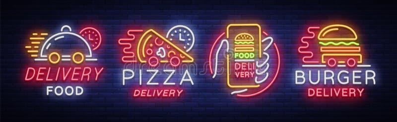 食物交付集合霓虹灯广告 在霓虹样式的略写法汇集,轻的横幅,交付的明亮的夜广告 皇族释放例证
