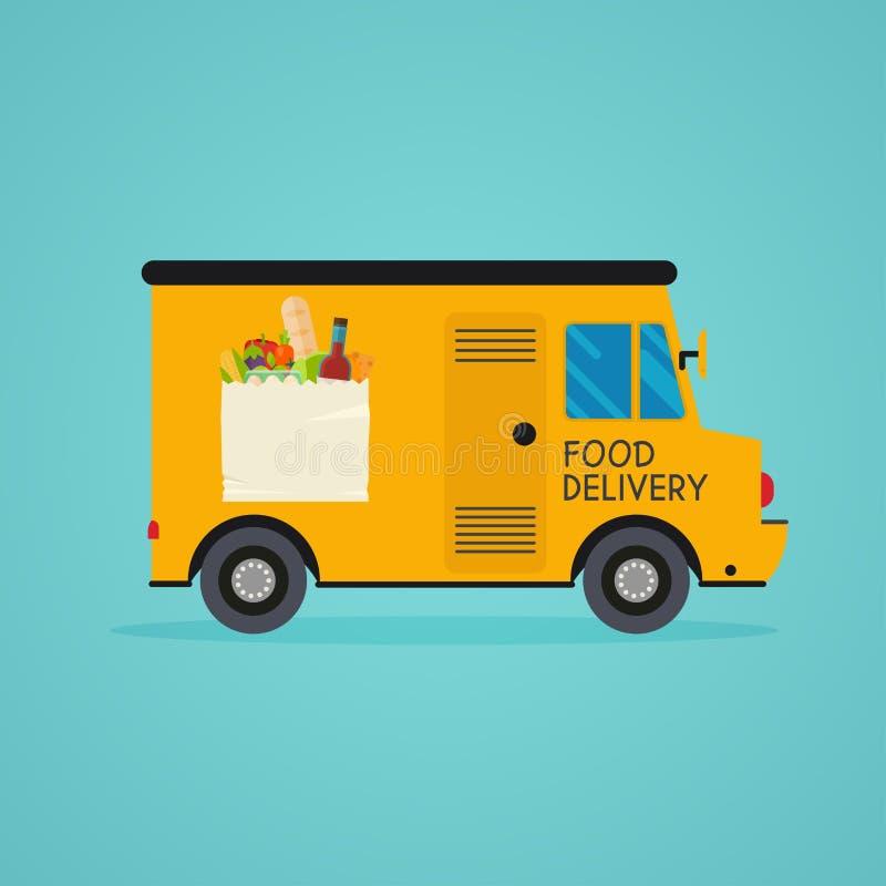 食物交付 膳食成套工具送货业务 在线排序foo 库存例证