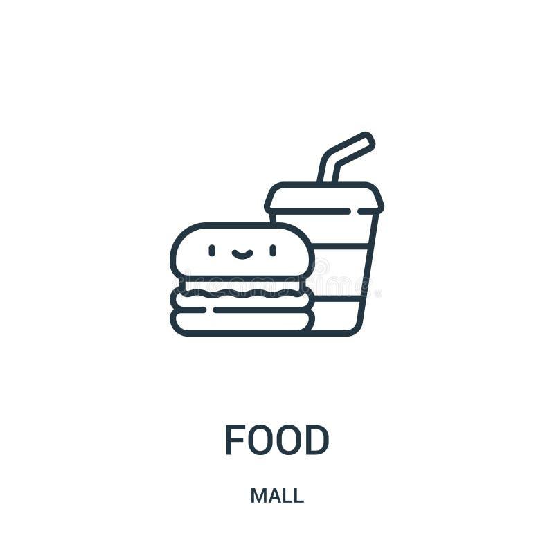 食物从购物中心汇集的象传染媒介 稀薄的线食物概述象传染媒介例证 线性标志为在网和机动性的使用 皇族释放例证